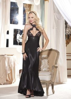 Long Satin Nightie/Gown with Lace Cups by Shirley of Hollywood [SOH20530] - $140.00 - HotandCasual.com.au