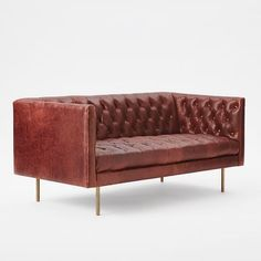 Modern Chesterfield Leather Loveseat | west elm