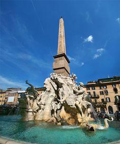 La fontana dei quattro fiumi, Bernini, 1646-1651, piazza Navona