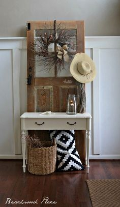 Today I want to share my diy hall tree! I'm in love with old doors and unique ways of transforming things into design. I have always loved this inte… Mirrored Bedroom Furniture, Refurbished Furniture, Dining Room Furniture, Rustic Furniture, Old French Doors, Old Doors, Furniture Update, Trendy Furniture, Furniture Ideas