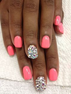 Instead of the one nail diamonds, I would paint all nails and then tip them like a french tip with rhinestones {2 rows}. So pretty!