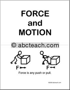 Basic concepts of force and motion in an illustrated booklet.