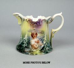 BEAUTIFUL R.S. PRUSSIA WINTER WOMAN PORTRAIT SMALL SCENIC CREAMER