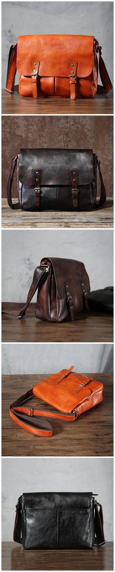 Vegetable Tanned Leather Messenger Bag Handmade Men Shoulder Bag Retro Crossbody Bag G6022 Leather Briefcase, Leather Backpack, Leather Wallet, Canvas Leather, Tan Leather, Fashion Bags, Men Fashion, Photography Bags, Leather Suspenders