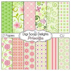 Lovely pink and green Scrapbook Paper for digital scrapbooking, graphic designer resources, card making, photo cards, invitations, announcements, web pages, business cards, stationary, gift wrap, tags, twitter backgrounds, blog graphics / backgrounds, computer desktop wallpaper, photocards, invitations, announcements, party printables,etc.