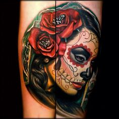 I really want a day of the dead tattoo like this and the name with amazing color tattoos that keeps popping up is Nikko Hurtado. Guess I need to start saving up!