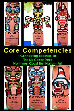 BC Core Competencies Totems :: Connecting Six Cedar Trees and First Nations Art Aboriginal Education, Indigenous Education, Arte Haida, Haida Art, Native American Art, American Indians, American Symbols, American Women, American History