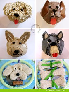 Tutorials and DIY: Puppy Dog Birthday Party, Dog cupcakes, Puppy cup cakes, retriever cupcake, cockerpoo cupcake, chihuahua cupcake, schnauzer cupcake, dog sandwiches, dogbone sandwich -- great for dog theme party
