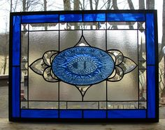stained glass panel Rich Blues beveled