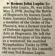 For all those HUGE harry potter fans who've never read the books, they barely even mention that Lupin amd Tonks get married and have a son.