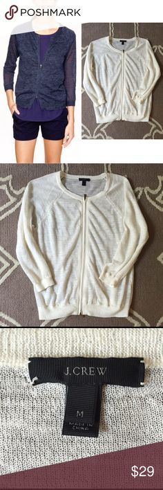 """J.Crew White Marled Zip Cardigan Italian Linen M 🔹J.Crew  🔹""""Marled Zip Cardigan"""" in off-white  🔹Dressed up a sporty baseball-tee silhouette in a marled linen yarn & finished it with a two-way zip down the front.  🔹Size M  🔹Italian linen & polyester  🔹Excellent used condition!   🔹Bust: 20"""" across the front, lying flat. Has stretch.  🔹Length: 24.25"""" from shoulder to hem.   ✳️ Bundle to Save 20%!  ❌ No Trades, Holds, PP, Modeling  🎀 100% Authentic!   ⭐️⭐️ Suggested User • 1400+ Sales •…"""