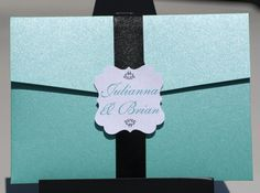 Turquoise and Black Wedding Invitation SALE - Black and Tiffany Blue Pocket with Satin Ribbon
