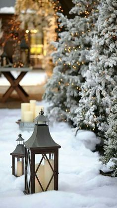 Freshly fallen snow, Christmas lights and glowing lanterns.
