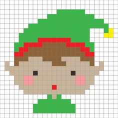 Crochet Elf Pixel Square - Repeat Crafter Me Pixel Crochet, C2c Crochet, Tapestry Crochet, Crochet Squares, Christmas Perler Beads, Christmas Cross, Christmas Angels, Christmas Characters, Christmas Themes