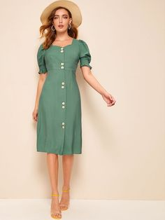 Product name: Button Through Puff Sleeve Sweetheart Neck Tea Dress at SHEIN, Category: Dresses Vestidos Vintage, Vintage Dresses, Types Of Sleeves, Dresses With Sleeves, Dress Outfits, Fashion Outfits, Button Front Dress, Sweetheart Dress, Belted Dress