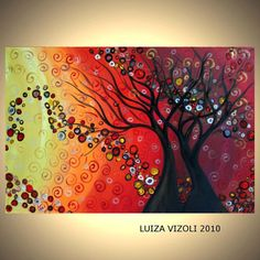 Original Abstract Modern Landscape Trees Oil Painting IN LOVE by Luiza Vizoli-CUSTOM Artwork