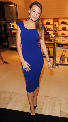 Photo of Blake Lively Wearing Cobalt Blue Victoria Beckham Dress at Saks Fifth Avenue | POPSUGAR Fashion