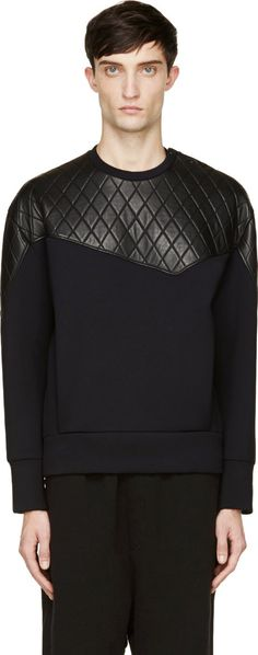 Neil Barrett: Black Neoprene & Quilted Leather Sweatshirt   SSENSE
