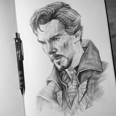 this is an awesome doctor strange artwork. Avengers Drawings, Avengers Art, Marvel Art, Portrait Sketches, Pencil Portrait, Man Portrait, Pencil Art Drawings, Art Drawings Sketches, Pencil Sketching