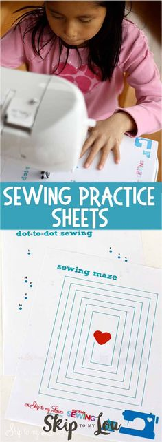 Printable sewing practice sheets. Perfect for beginners and kids learning to sew #sew #printable #kids