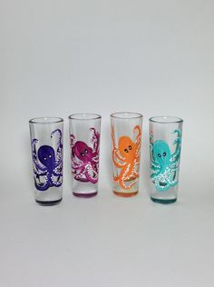 SOLD❗️A personal favorite from my Etsy shop https://www.etsy.com/listing/236721970/shot-glasses-set-of-4-octopus