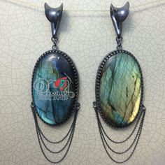 "Crafted by Phoenix Revival Jewelry. 2"" long labradorite cabs set in blackened silver frames, detailed with silver chain and hung from PRJ's signature saddle hooks that fit lobes stretched to 7/16"" and up. #phoenixrevivaljewelry #stretchedlobes"