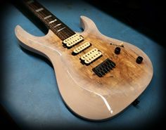 Kiesel Guitars Carvin Guitars  A6 (Aries) Translucent white cali over spalted maple top with royal ebony fretboard, Kiesel Lithium pick ups and Hipshot bridge