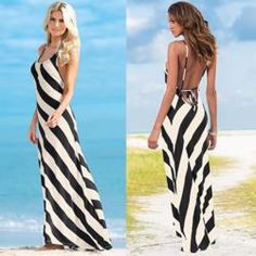 604623092ea Beautiful Printed Stripe Long Summer Beach Dress Backless Maxi Dresses