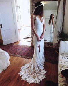Romantic Boho Wedding Dresses Backless Lace Skirt Mermaid Elegant White Wedding Gowns