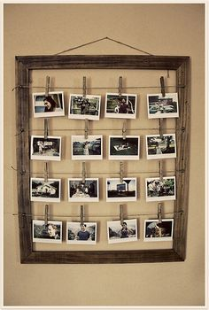 Super cool idea for showing off snapshot photos w/ picture frame & clothes pins. Would be great made with twigs.