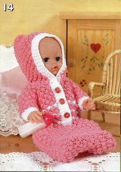 baby dolls clothes knitting pattern dolls sleeping bag with hood growbag baby reborn 12-22 inch doll DK baby dolls knitting patterns pdf by Minihobo on Etsy