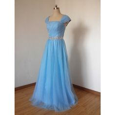Long Prom Dress Prom Dress 2016 Cap Sleeves Prom Dress Blue Prom Dress... ($119) ❤ liked on Polyvore featuring dresses, grey, women's clothing, blue prom dresses, long dresses, tulle cocktail dress, grey prom dresses and gray dress