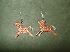 Cedar Bark Horse Earrings