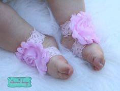 Light Pink Lace Baby Barefoot Sandals