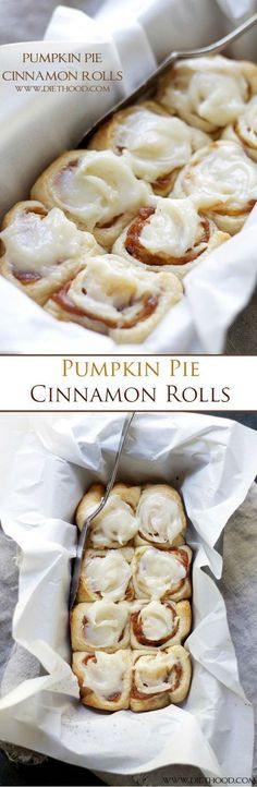 Cinnamon Rolls filled with a delicious pumpkin pie filling and topped with an incredible pumpkin pie spice cream cheese frosting! Ready in 30-MINUTES!! Pumpkin Cinnamon Rolls, Pumpkin Pumpkin, Crescent Cinnamon Rolls, Cinnamon Roll Icing, Healthy Cinnamon Rolls, Pumpkin Spice, Crescent Rolls, Pumpkin Recipes, Bon Appétit