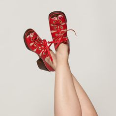 1969-1973 Red Leather Platform Shoes #vintage #red #leather #shoes #platform #1970s @Etsy