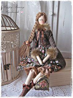 Tilda doll Miss Emma in tweed coat Textile Handmade Tilda doll OOAK Primitive Fabric doll Tilda style Home decor Gift for her