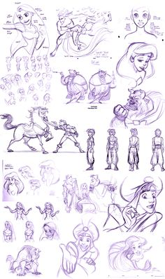 Disney sketches - fabulous! | I think most of these are Glen Keane, but there might be some Jin Kim in there!