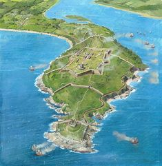 An poster sized print, approx (other products available) - PENDENNIS CASTLE, Cornwall. Aerial reconstruction drawing by Ivan Lapper of Pendennis as it may have looked during the siege of - Image supplied by Historic England - Poster printed in the USA Fantasy Castle, Fantasy Map, Historical Architecture, Ancient Architecture, Palaces, Castle Illustration, Chateau Medieval, Dungeons And Dragons Homebrew, Fantasy Setting