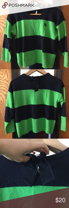 Abercrombie and Fitch green & navy striped sweater Made of cotton Cropped style Abercrombie & Fitch Sweaters Crew & Scoop Necks