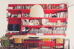 red workspace in a living