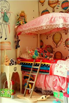 hot air balloon wallpaper, princess and the pea bed with mini ladder.