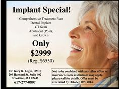 Implant special! Only $2999. Originally $6550. Call us today @ 617 277 0807. #boston #dentist #garyrlogindmd garylogin.com Dental Humor, Dental Hygienist, Dental Implants, Dental Care, Beautiful Teeth, Dental Veneers, Cosmetic Dentistry, Oral Health, Health Education