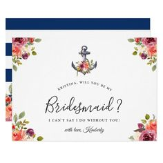 Shop Navy Blue Anchor Floral Will You Be My Bridesmaid Invitation created by OwlsomePaperie. Bridesmaid Proposal Cards, Be My Bridesmaid Cards, Will You Be My Bridesmaid, Bridesmaid Gifts, Wedding Invitation Sets, Wedding Stationary, Invitation Design, Card Wedding, Shower Invitations
