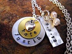 Wedding Necklace Wedding Date Necklace by CharmAccents on Etsy, $25.00