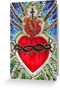 Items similar to sacred heart - a blank greeting card with envelope on Etsy Sacred Heart, Stitches, Envelope, Greeting Cards, Drawings, Etsy, Products, Dots, Sketches