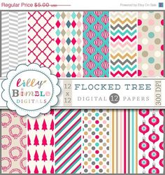 50 off Christmas digital papers scrapbooking red by LillyBimble, $2.50