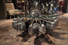 Coffee table made from original aircraft radial engine - table a caffé faite a partir de moteur radial original d'avions - Tavoli caffé realizzati con motori stellari originali di aerei - Arteinmotion