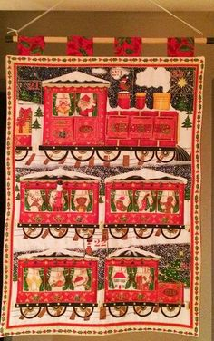 Quilted Fabric Advent Calendar - Choo Choo Train by softtreasures on Etsy