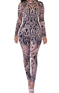 Yffaye Women S Black Tribal Tattoo Print Sheer Jumpsuit At Clothing